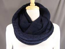 Navy Blue knit super soft circle infinity endless loop long scarf crochet