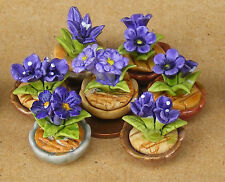 1:12 Scale Single Small Mauve Ceramic Flower In A Pot Dolls House Miniatures