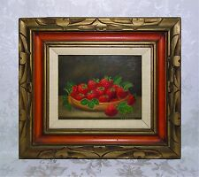 Vintage Mid Century Still Life Oil Painting of Fruit Strawberries Signed