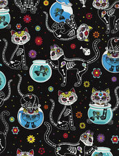 Day of the Dead Kitty Cat Fabric BY-THE-HALF-YARD; Timeless Treasures; C4159