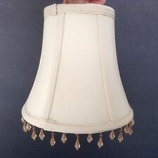 "Bell Shade with Dangling Beads Beige Fabric Lamp Shade Standard Bulb 7"" t x 8"" w"