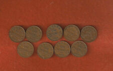 9 Different KGV One Cent Coins 1920-1921-1928-1929-1932-1933-1934-1935-1936