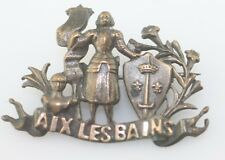 Antique Aix Les Bains armored figure banner crest shield pin brooch c1880 FRANCE