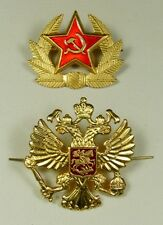 Soviet USSR & Russian Army Hat Cap Badges Red Star & Imperial Eagle *Metal *New