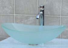 Bathroom Glass Vessel Sink Frosted Oval + Chrome Faucet & Drain TB15FD3
