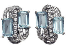 7.72ct Aquamarine & 1.18ct Diamond 14ct White Gold Earrings - Vintage Circa 1970