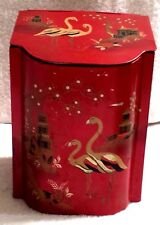 Baret Ware Art Grace Made in England Asian Red Biscuit Barrel Tin Canister Hinge