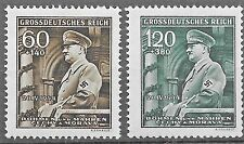 Germany's 3rd Reich Bohemia & Moravia  Mi # 136-137 Hitler's 55th Birthday MNH**