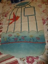 Vintage Handmade Fabric Bird Cage Cover Needlework ~fits over small cage (snaps)