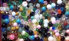 Assorted Mix of Gemstones & Glass Beads , Shapes & Sizes, 2-10 mm  1/3 lb.