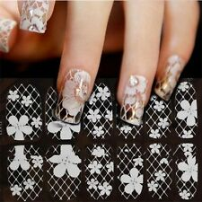 3D White Lace Flowers Nail Art Tips Sticker Decal Full Wraps Acrylic DIY Decor
