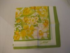 Vintage Avon SW Kent Yellow Floral Tulip/Daffodil 27x27 Scarf 100% Acetate NWNT