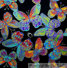 BonEful Fabric FQ Cotton Black Rainbow Butterfly Gold Metallic OOP Breast Cancer