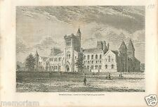 University of Toronto Université Ontario Canada GRAVURE ANTIQUE OLD PRINT 1878