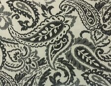 BALLARD DESIGNS CISCO CHARCOAL GRAY PAISLEY OUTDOOR FURNITURE FABRIC BY THE YARD