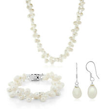 "18"" Double Strands Freshwater Pearl & Crystal Necklace Bracelet and Earrings Set"