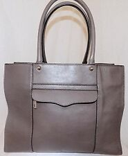 Rebecca Minkoff Cowhide Pebbled Leather Tote gray/taupe rolled handles beautiful