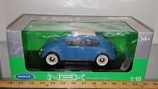 1/18 WELLY NEX MODELS 1950 VOLKSWAGEN CLASSIC BEETLE BLUE with WHITE TOP bd