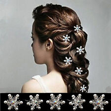 5PCS Lovely Wedding Bridal Crystal Rhinestone Pearl Snowflake Flower Hair Pin