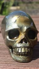 Natural Australian Pyrite Hand Carved Realistic Crystal Skull 196g