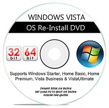 WINDOWS VISTA - Basic Home Premium Ultimate 32-64Bit RE INSTALL RECOVERY DVD wHD