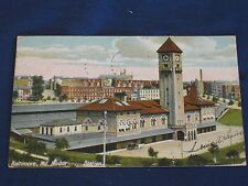 1909 Mount Royal Station, Baltimore, MD Post Card B&O RR Posted VG