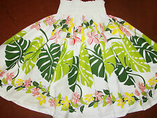 "NEW WHITE FLORAL  HAWAIIAN HULA PAU PA'U SKIRT 28"" LONG"