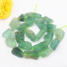10-22mm Natural Green Fluorite Freeform Beads 16""