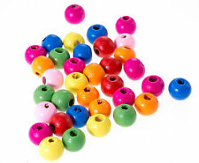 20 perles en bois brillant 10mm couleur mixte 10 mm Attache tetine, bracelet...