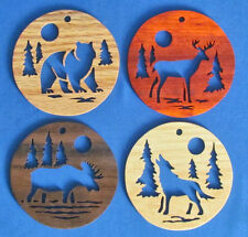 Call Of The Wild - 4 Ornament Set - Bear, Deer, Moose & Wolf - Hand Cut