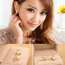 Cute Triangle Imitation Pearl Gold Plated Jewelry Women Lady Ear Stud Earring