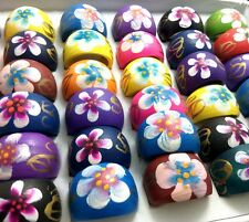12pcs Women Natural Wood Rings Flower Mix Beautiful Rings Jewelry Job Lots
