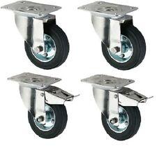 """Heavy Duty Swivel & Swivel Braked Castors, 4-Pack (100MM/4"""")"""