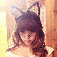 Fashion Costume Party Lace Rabbit Bunny Girl Long Ears Veils Headband Hairband