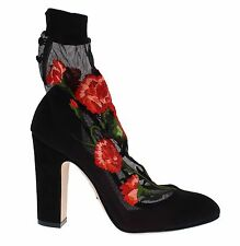 NEW $1100 DOLCE & GABBANA Black Red Roses Socks Suede Heels Shoes EU39 / US8.5