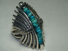 STERLING SILVER CAROLYN POLLACK JENNIFER NETTLES TURQUOISE BEAD DOME RING SIZE 6