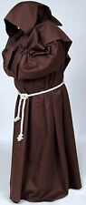 Costume Monk's Brown Robe & Hood Medieval & Renaissance Warrior Holyman,In Stock