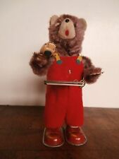 Vintage ALPS Cubby The Reading Bear Mechanical Tin Toy Wind-Up