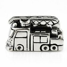 Fire Truck / Fire Engine Genuine Solid Sterling Silver Charm OHM Bead AHR009