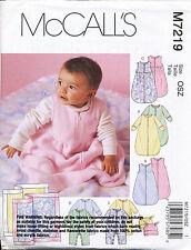 MCCALL'S SEWING PATTERN 7219 BABY S-XL SLEEPING BAG JUMPSUIT/ONESIE HAT, BLANKET