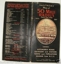 Hagstrom's Foldout Map Of 50 Mile Radius From New York City 50's