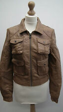 Top Shop Tan Faux Leather Cropped Jacket size 10