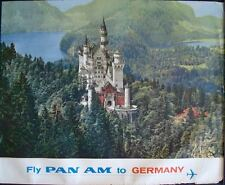 PAN AM AIRLINES GERMANY NEUSCHWANSTEIN CASTLE Vintage 1965 Travel poster 34.5x44