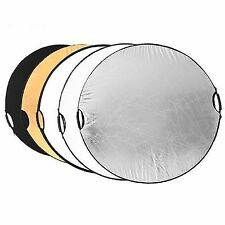 """43"""" 5 in 1 110cm Collapsible Disc Photography Handheld Reflector LED Flash Light"""
