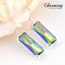 Gorgeous Rectangle Rainbow Mystical Fire Topaz Gemstone Silver Lady Earrings