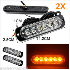 2X 18W Super Bright Amber 6-LED Flash Emergency Hazard Warning Strobe Light Bar