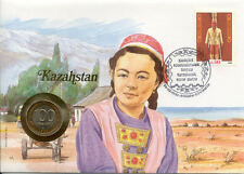 superbe enveloppe KAZAKHSTAN pièce monnaie 100 1992 UNC NEW timbre