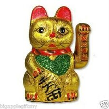 "Feng Shui Beckoning Ceramic Maneki Neko Wealth Lucky Waving Kitty 7"" Tall"