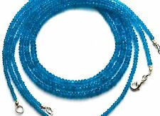 """Natural Gem Neon Blue Apatite 3-5MM Rondelle Beads 18"""" Finished Necklace 52Cts."""