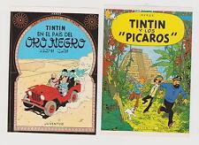 Tintin. 2 étiquettes publicitaires Ed. Juventud : Or Noir, Picaros. En Espagnol